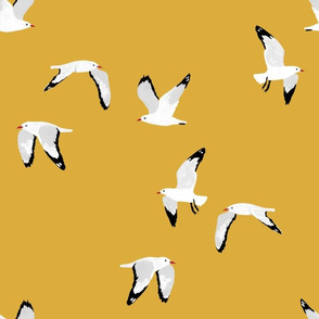 Scattered Seagulls (mustard)