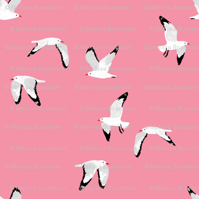Scattered Seagulls (pink)
