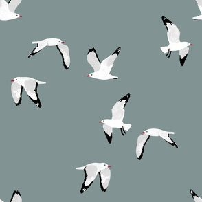 Scattered Seagulls (green)