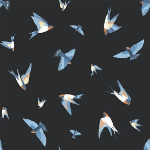 Double Scattered Swallows (dark grey)