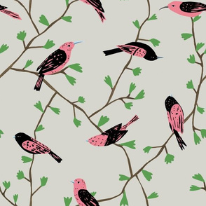 Pink Birds in Vines (natural)