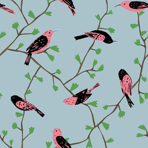Pink Birds in Vines (blue)