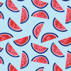 "2"" scale - watercolor watermelon on blue - July 4th - red white and blue fabric"