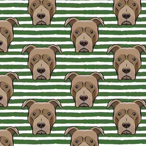 Pit bull on stripes (pine) fabric by littlearrowdesign on Spoonflower - custom fabric