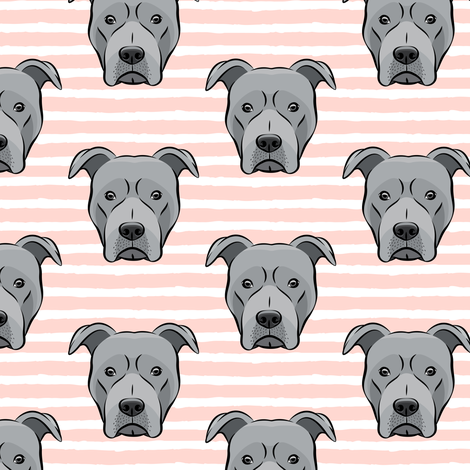 Grey Pit bull on stripes (pink) fabric by littlearrowdesign on Spoonflower - custom fabric