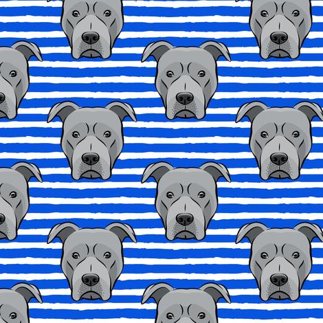 Grey Pit bull on stripes (blue) fabric by littlearrowdesign on Spoonflower - custom fabric
