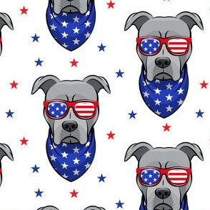 patriotic Pit Bull white with stars (grey)