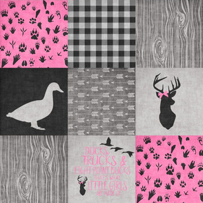 Ducks & Trucks Pink - Wholecloth Cheater Quilt