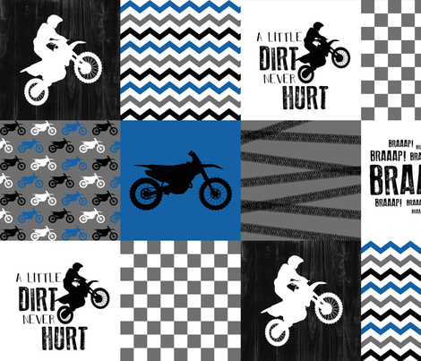 Motocross//A little dirt never hurt - Wholecloth Cheater Quilt - Blue fabric by longdogcustomdesigns on Spoonflower - custom fabric
