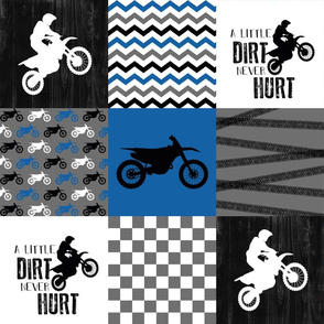 Motocross//A little dirt never hurt - Wholecloth Cheater Quilt - Blue