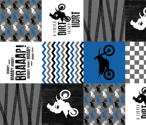 Motocross//a little dirt never hurt - Wholecloth Cheater Quilt - blue - rotated fabric by longdogcustomdesigns on Spoonflower - custom fabric