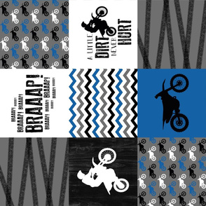 Motocross//a little dirt never hurt - Wholecloth Cheater Quilt - blue - rotated