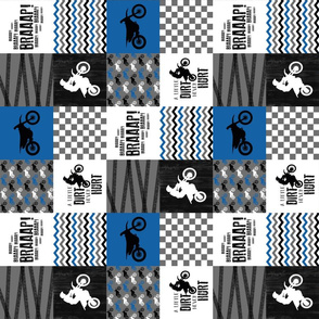 3 inch - Motocross//A little dirt never hurt - Wholecloth Cheater Quilt - blue - rotated