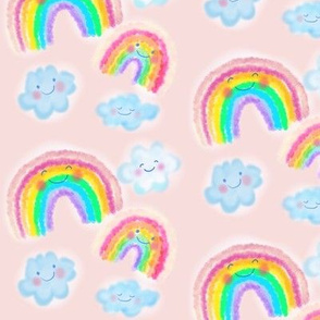 Happy little Rainbows and clouds on pink