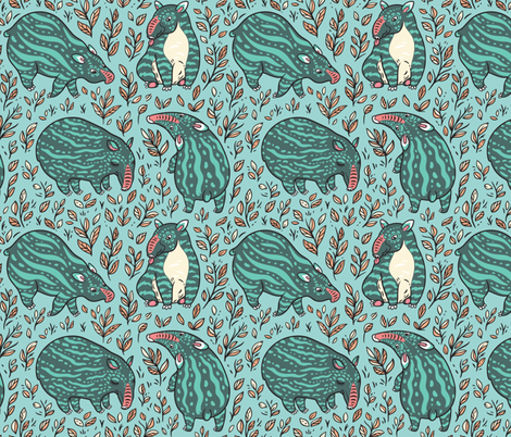 young tapirs fabric by penguinhouse on Spoonflower - custom fabric
