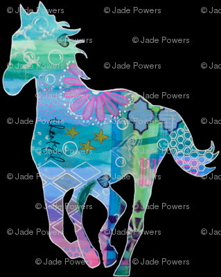 """Sea Horse"" Colorful Mixed Media Silhouette"