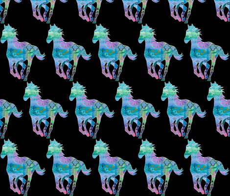 """Sea Horse"" Colorful Mixed Media Silhouette fabric by mandala_arts on Spoonflower - custom fabric"