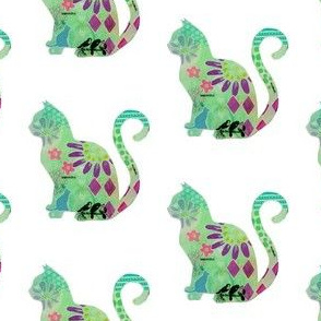 """Meow"" Colorful Cat Silhouette"
