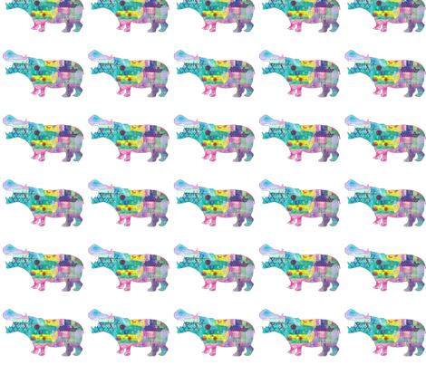 Colorful Mixed Media Hippo Silhouette fabric by mandala_arts on Spoonflower - custom fabric