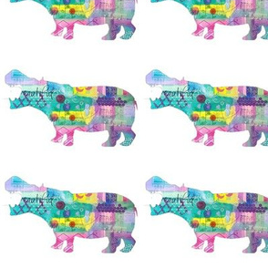 Colorful Mixed Media Hippo Silhouette
