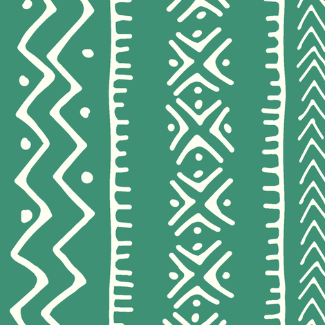 Mud Cloth II // Ivory on Aquamarine // Large fabric by thinlinetextiles on Spoonflower - custom fabric