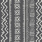 Mud Cloth II // Ivory on Charcoal // Small