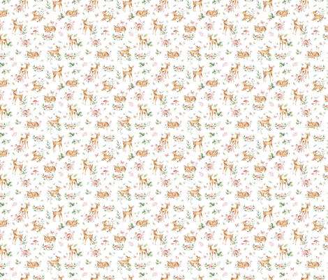 Super Small Small- Baby Deer with flower- white / Woodland Deer / Forest Animals/ Nursery Fabric fabric by bianca_pozzi on Spoonflower - custom fabric