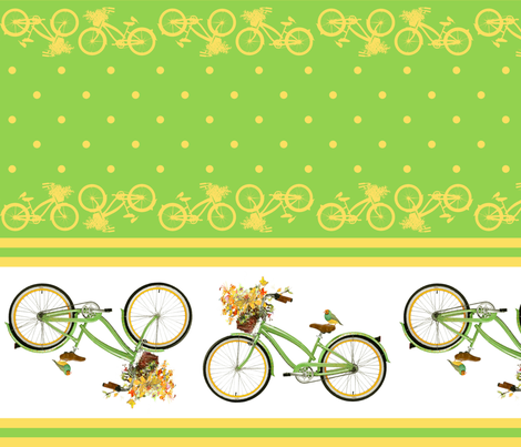 Bicycle bird flowers and polka dots in chartreuse and yellow fabric by delinda_graphic_studio on Spoonflower - custom fabric