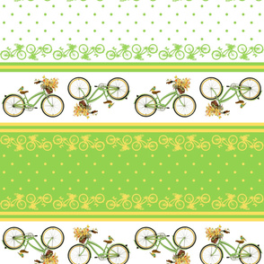 Bicycle bird flowers and polka dots in chartreuse and yellow