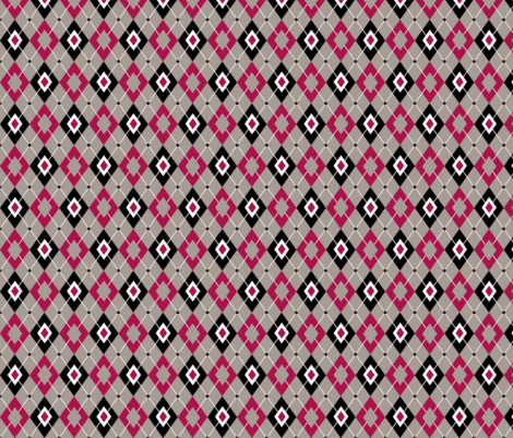 argyle rose and grey fabric by sufficiency on Spoonflower - custom fabric