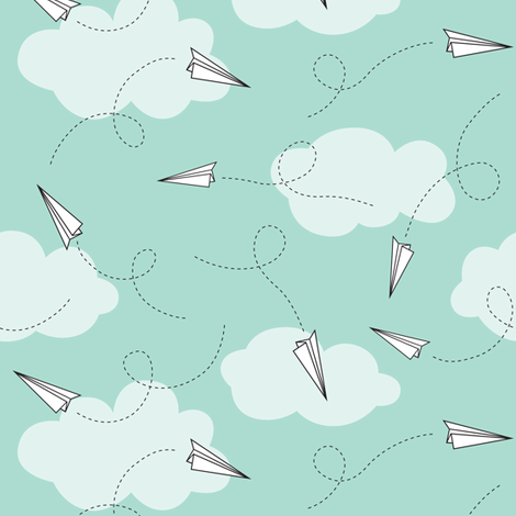 paper planes fabric by heleenvanbuul on Spoonflower - custom fabric