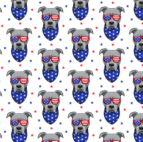 (small scale) patriotic Pit Bull white with stars (grey) fabric by littlearrowdesign on Spoonflower - custom fabric