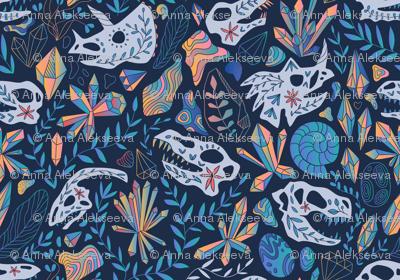 Deep treasures. Geology. Dinosaurs skulls, crystals, rocks.