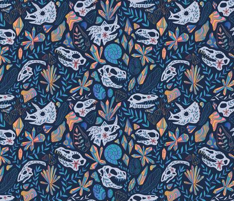 Deep treasures. Geology. Dinosaurs skulls, crystals, rocks. fabric by kostolom3000 on Spoonflower - custom fabric