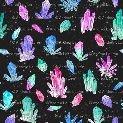 Watercolor Crystals - Black by Andrea Lauren