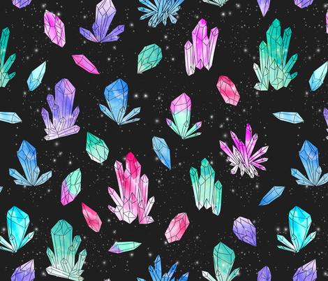 Watercolor Crystals - Black by Andrea Lauren fabric by andrea_lauren on Spoonflower - custom fabric