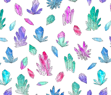 Watercolor Crystals - White by Andrea Lauren fabric by andrea_lauren on Spoonflower - custom fabric