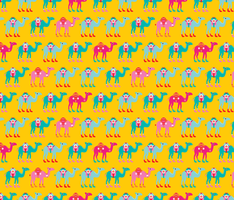 Colorful arabic summer oriental desert Camel parade LARGE fabric by littlesmilemakers on Spoonflower - custom fabric