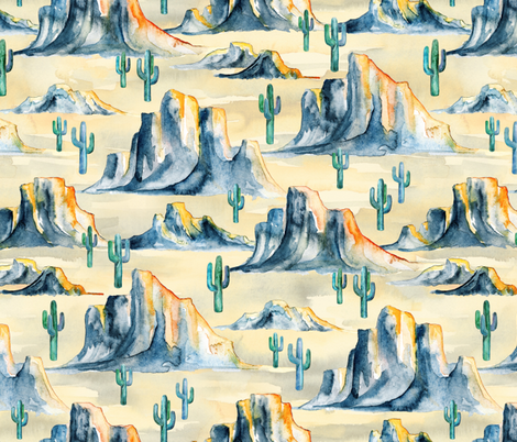 Sunset Desert Mountains with Cacti in Watercolor - large fabric by micklyn on Spoonflower - custom fabric