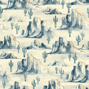 Desert Mountains with Cacti in Watercolor - large