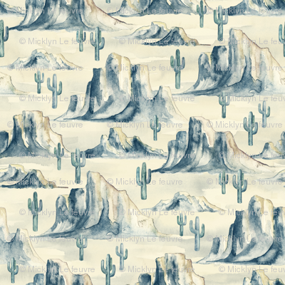 Desert Mountains with Cacti in Watercolor - small
