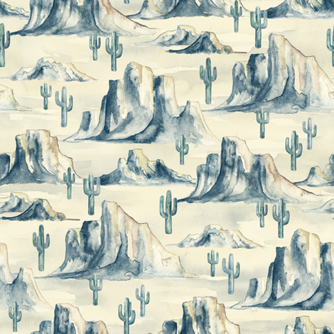 Desert Mountains with Cacti in Watercolor - small fabric by micklyn on Spoonflower - custom fabric