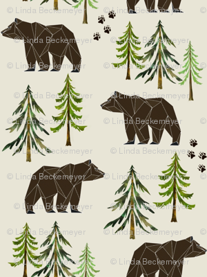 Woodland Bears - Pine Trees Forest Bear Tracks Nursery Kids Camping LARGE SCALE A