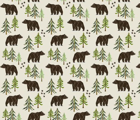 Woodland Bears - Pine Trees Forest Bear Tracks Nursery Kids Camping LARGE SCALE A fabric by gingerlous on Spoonflower - custom fabric