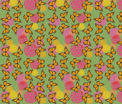 Monarchs and Milkweed fabric by kindlemade on Spoonflower - custom fabric