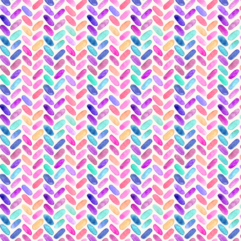 Rainbow Herringbone Watercolor Oblongs Tiny Version fabric by micklyn on Spoonflower - custom fabric