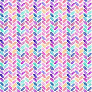 Rainbow Herringbone Watercolor Oblongs Tiny Version