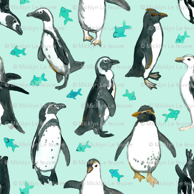 Small Watercolor Penguins with little Teal Fish on Mint