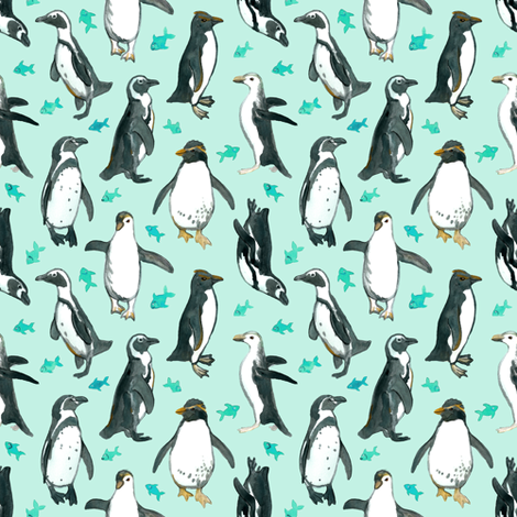 Small Watercolor Penguins with little Teal Fish on Mint fabric by micklyn on Spoonflower - custom fabric
