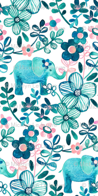 Extra Tiny Teal Elephant Watercolor Floral on White